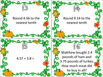 Fall Themed Decimal Task Cards FREE PREVIEW