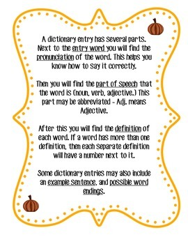 Fall Themed Dictionary Skills Practice