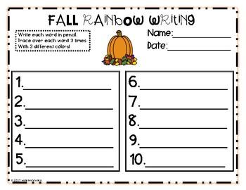 Fall Sight Words Task Card Center