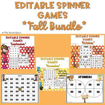 Fall Themed EDITABLE Spinner Games Bundle