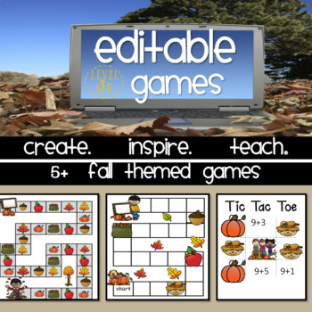 Fall Themed Editable Game Boards