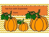 Fall Themed Expanded Notation task cards with recording sheet