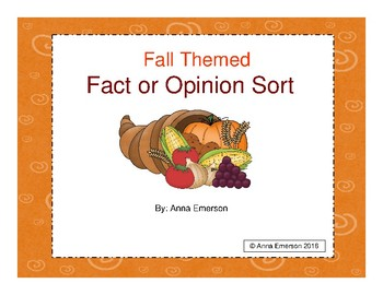 Fall Themed Fact and Opinion Sort