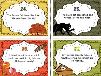 Fall Themed Figurative Language Task Cards