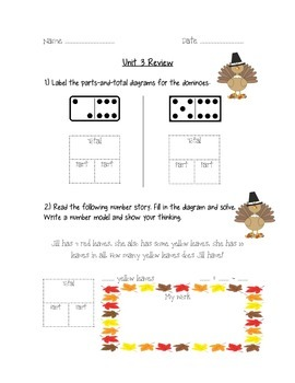 Fall Themed First Grade Everyday Math Unit 3 Review Packet