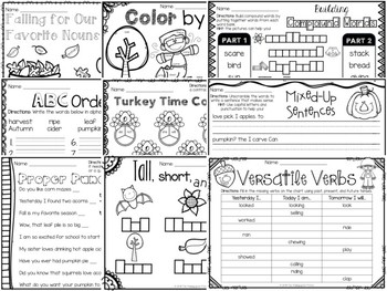 Fall Themed First & Second Grade Literacy Packet