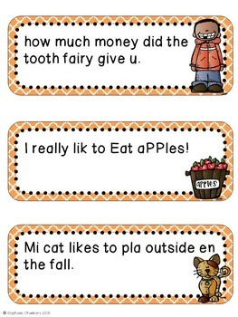 Fall Editing Sentences: First Grade, Capitalization, Punctuation, Spelling