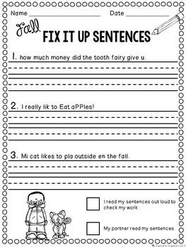 Fall Editing Sentences First Grade Capitalization