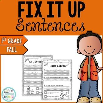 Fall Editing Sentences: First Grade, Capitalization, Punct