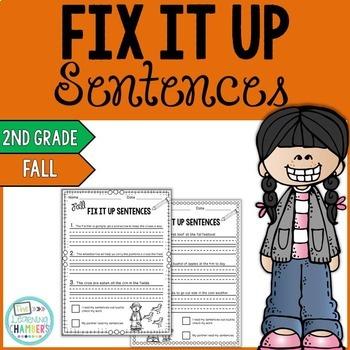Fall Editing Sentences: Second Grade, Capitalization, Punctuation, Spelling