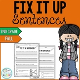 Fall Editing Sentences: Second Grade, Capitalization, Punctuation, Spelling