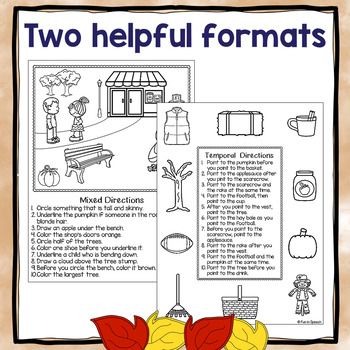Fall Themed Following Directions Worksheets - Print & Go Activity