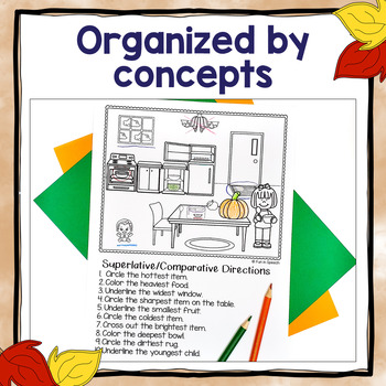 Fall Following Directions Worksheets for Speech Therapy