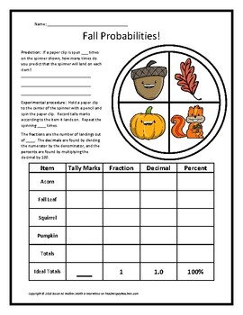 Fall-Themed Fraction, Decimal, Percent Probabilities Using a Spinner