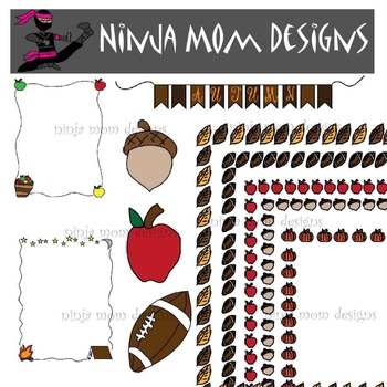 Fall Themed Frames and Clip Art in Color and Black Line
