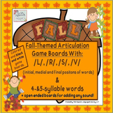 Fall-Themed Game Boards With /L/, /S/, /R/, /V/ + 4 & 5 Syllable Words