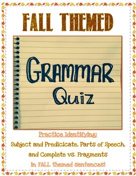 Fall Themed Grammar Quiz