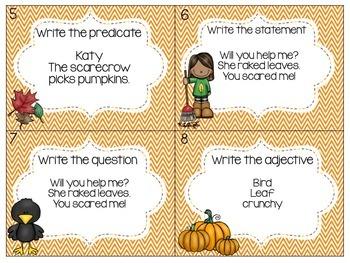 Grammar Task Cards (Fall themed)
