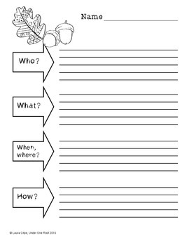 Graphic Organizers for Language Arts: Fall Themed