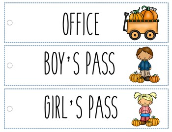 Fall Themed Hall Passes & Sign Out Sheet