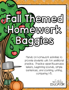 Fall Themed Homework Baggies
