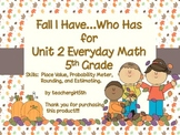 "Fall Themed ""I Have Who Has"" Game for Unit 2 Everyday Math (5th Grade)"