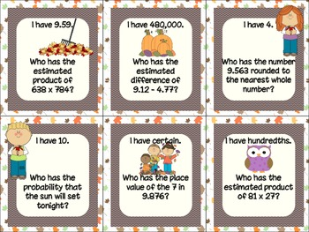 """Fall Themed """"I Have Who Has"""" Game for Unit 2 Everyday Math (5th Grade)"""