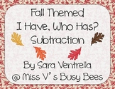 Fall Themed I Have, Who Has? Subtraction Game