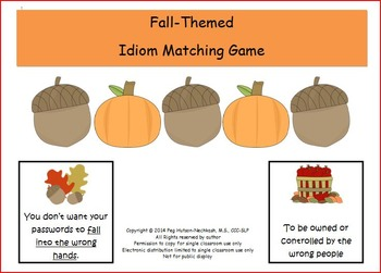 Fall-Themed Idiom Matching Game