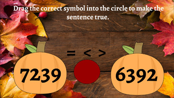 Fall Themed Interactive Comparing Numbers Activity Bundle- Google Classroom