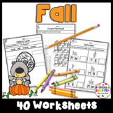 Fall Themed Kindergarten Math and Literacy Worksheets and Activities