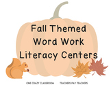 Fall Themed Kindergarten Word Work Literacy Centers