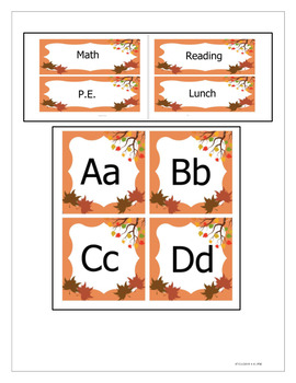 Fall Themed Labels - Agenda and Alphabet