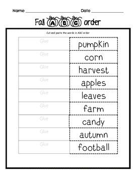 Fall Themed Langague Arts Packet