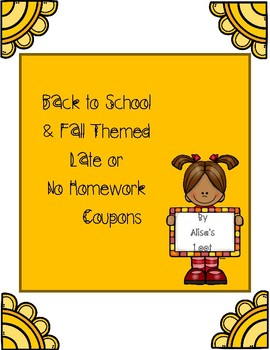 Fall Themed Late or No Homework Coupons