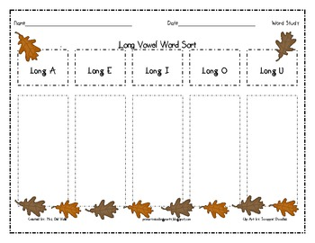 Fall Themed Long Vowel Word Sort