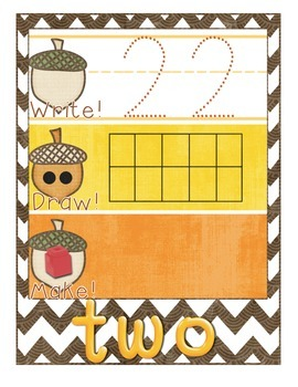 Fall-Themed Math Center - Write It, Draw It, Make It! - Number recognition