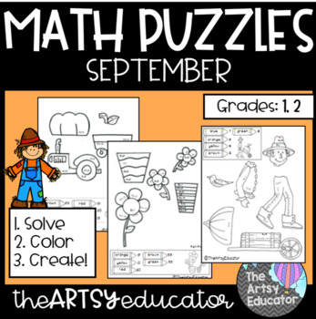 September Themed Math Puzzles - Color by Sum and Difference