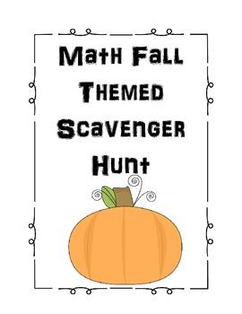 Fall Themed Math Scavenger Hunt