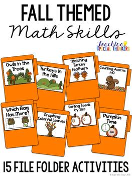 Fall Themed Math Skills File Folder Tasks (15 Tasks Included)