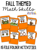 Fall Themed Math Skills File Folder Tasks (15 Tasks Included)