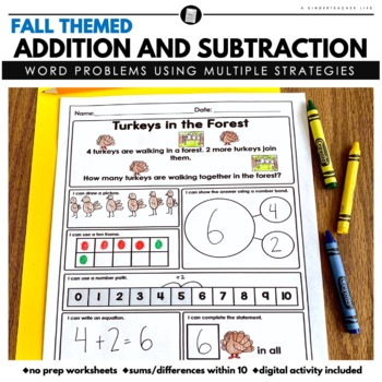 Fall Math Word Problems - Addition and Subtraction within 10
