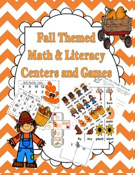 Fall Themed Math and Literacy Centers and Party Games