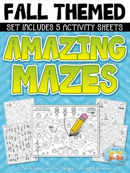 Fall Themed Mazes Activity Sheets Set (5 Sheets) {Zip-A-Dee-Doo-Dah Designs}