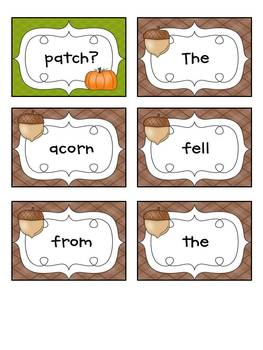 Fall Themed Mixed Up Sentences