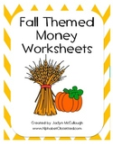 Fall Themed Money Math Worksheets
