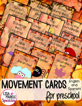 Fall Themed Movement Cards for Preschool and Brain Break