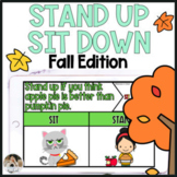 Fall Themed Movement Game Sit Down Stand Up