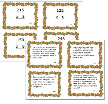 Fall Themed Multiplication Task Cards