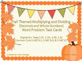 NEW! Fall Themed Multiplying Dividing Task Cards 5.3E 5.3G 5.3B 5.3C